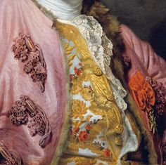 Detail from the portrait of the Comte d'Angiviller, 1763 wearing puce silk frockcoat (fur lined), richly embroidered gold waistcoat, lace stock and red ribbon and Order of St. Louis. See full portrait here: http://pinterest.com/pin/278589926921051724/
