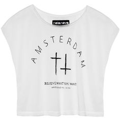 White cropped top with cool Amsterdam print ($46) ❤ liked on Polyvore featuring tops, t-shirts, shirts, crop tops, print tees, white crop t shirt, cropped tops, tee-shirt and crop t shirt