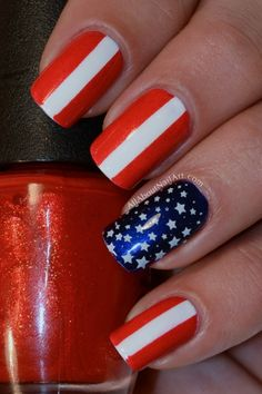 4th July Nail Art. Could paint the whole nail red and use whiteout to make a stripe and cover with a top coat!!