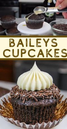 This recipe for Baileys cupcakes is absolutely packed with Baileys! It uses Baileys in the chocolate cupcake batter, in the drizzle and frosting! recipes videos for summer Baileys Cupcakes - Moist Cupcakes Topped with Baileys Frosting Low Carb Cupcakes, Moist Cupcakes, Yummy Cupcakes, Kahlua Cupcakes, Man Cupcakes, Caramel Cupcakes, Oreo Cupcakes, Cupcake Frosting Tips, Frosting Recipes