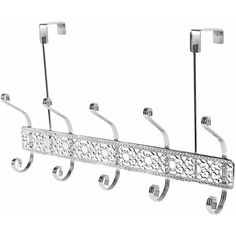 5 Hook Over The Door Flat Wire Hanger - Chrome