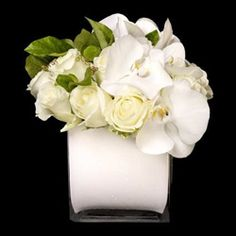 White Cube Textural greens and white blooms come together beautifully to create an elegant, lush arrangement.