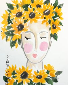 Sunflower Lady Watercolor A Fun Painting Of A Lady With Sunflowers In Her Hair Fashion Homedecor Hairstyles Wallart Watercolor Watercolorarts Portrait Art Artwork Sunflower Farmhouse Boho Bohostyle Watercolor Sunflower, Watercolour Painting, Watercolor Flowers, Painting & Drawing, Drawing Hair, Body Painting, Watercolors, Inspiration Art, Art Inspo