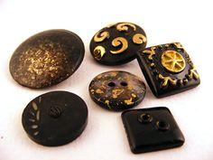 Black & Gold Plastic Glass Button Mix Vintage Collectors Lot of 6
