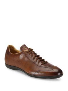 Santoni - Textured Leather Oxfords