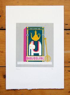 Darjeeling Screenprint by peskimo on Etsy (Art & Collectibles, Prints, Screenprints, tea, kitchen, packaging, screenprint, silkscreen, print, vintage, elephant, darjeeling, food, box)