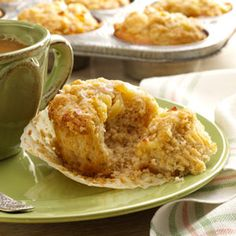 Dutch Apple Pie Muffins Recipe -Wake up loved ones with a fresh batch of these cinnamon-spiced muffins. They're topped with a heavenly apple pie style filling. — Suzanne Pauley, Renton, Washington