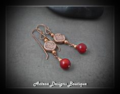 Coral Lace~ Red Coral Copper Artisan Earrings by AztecaDesignsBoutique, $36.00 USD