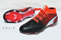 buy online be4f1 3427b The black, red and silver Puma ONE soccer cleats launch colorway introduces  a striking look.