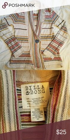 Euc billabong cardigan jacket super cute! Med This super cute heart again is by Billabong. It is size medium and has one button. This looks very cute over a tank with some jeans especially in the springtime. Billabong Sweaters Cardigans
