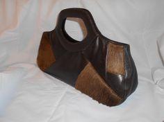 Vintage Handbag Vintage 1980s Genuine Leather Bag Jane Shilton Patchwork Skin Fur Brown Leather Integral Handles Zipped Pockets Quality Bag by GladragsandHandbags1 on Etsy