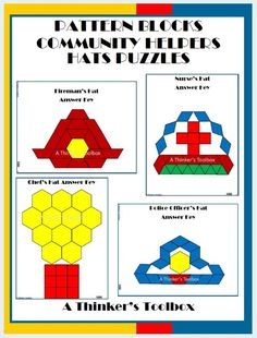 Pattern Blocks Community Helpers Hats Puzzles by A Thinker's Toolbox. Included are 4 Community Helpers Hats Puzzles; a Fireman's Hat, Nurse's Hat, Chef's Hat, and a Police Officer's Hat. Community Helpers Kindergarten, School Community, In Kindergarten, Community Workers, Preschool Activities, Space Activities, Nurse Hat, Thing 1, Pattern Blocks