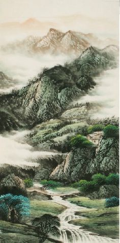 Artistic Conception. Traditional Chinese #Painting of the Small Passage betwween Mountains - replica