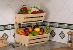 2 tier Wall mountable handmade vegetable& rack Classic, made from first class planed pain. This solid racks will be a great and useful addition to your kitchen Rack is sold fully assembled. Vegetable Rack, Vegetable Storage, Pallet Furniture, Kitchen Furniture, Kitchen Decor, Furniture Storage, Furniture Outlet, Discount Furniture, Kitchen Design
