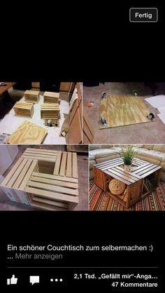 Couchtisch aus Holzboxen zum selber machen