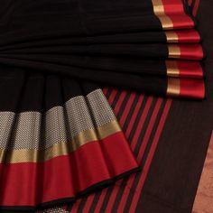 Buy online Handwoven Maheshwari Silk Cotton Saree With Zari Border & Striped Pallu 10024946 Black Cotton Saree, Silk Cotton Sarees, Black Saree, Red Saree, Saree Look, Saree Dress, Sari, Cutwork Saree, Phulkari Saree