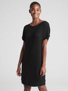 ee3683774c6d5 Gap Womens Dolman Sleeve Cutout T-Shirt Dress True Black