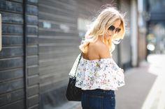 Zara cold shoulder floral top.