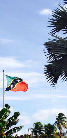 Flag of St Kitts Caribbean island