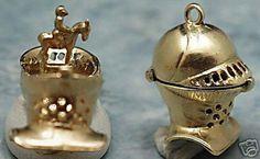 14k gold vintage KNIGHT's HELMET charm KNIGHT on HORSE in Charms & Charm Bracelets | eBay