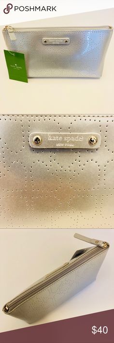 Kate Spade little shiloh bag The perfect little bag for your make up on the go, sunglasses or whatever needs organized in your tote. Kate Spade's little Shiloh bag is matte silver and will wipe clean. I bought two so I'm letting this one go. Dimensions are 2 x 4 x 8 inches. NWT. kate spade Bags Mini Bags