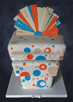 Wedding Cake (775 front) - Orange, Turquoise, Ivory & Gold Upside Down, via Flickr.