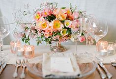 Pastel table setting #flowers #weddings