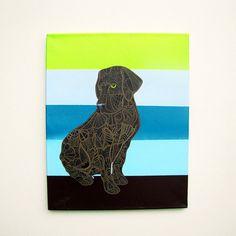 Chocolate Labrador Zentangle - MayhemHere on Etsy