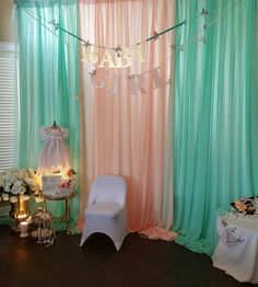 Mint and peach girl baby shower
