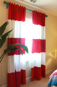 love the rugby striped curtains