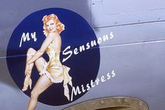 "Aircrews in World War II decorated their planes with pictures of pinups and pretty girls, typically modeled after the ""cheesecake"" art of Gil Elvgren, Alberto Vargas and George Petty as a way to help the boys get through the war. It was an interesting practice with a deep, psychological impulse - attaching a talisman or a good-luck charm to the aircraft as a way of warding off evil, death, and bullets. We've compiled a series of aircraft nose art depicting classic pin-up girls."