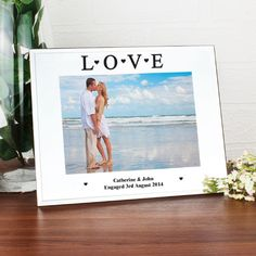 Personalise this Mirrored Love Glass Frame with up to 2 lines of 30 characters each L O V E is standard text Frame is Landscape and holds a 5x7 print