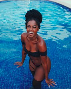 Love this Melanin poppin Created by . Beautiful Dark Skinned Women, Beautiful Black Girl, Stunning Girls, Pretty Black Girls, Black Girls Rock, Black Girl Magic, Black Man, Black Girl Beach, Black Girl Bikini