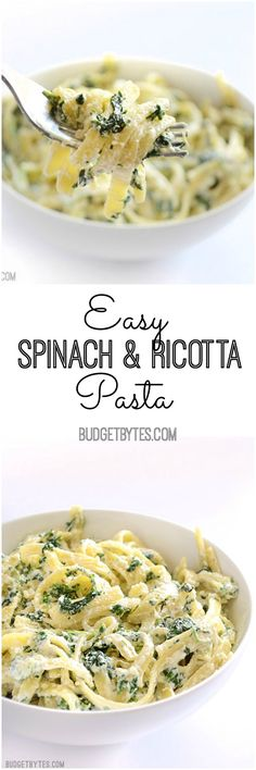 Easy Spinach Ricotta Pasta - An easy weeknight pasta that takes minutes to make. A simple, creamy, garlicky sauce spiked with spinach for color, flavor, and nutrients. Sub sweet potato noodles Spinach Ricotta, Good Food, Yummy Food, Tasty, Cooking Recipes, Healthy Recipes, Spinach Recipes, Simple Pasta Recipes, Chickpeas