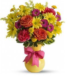 """It's called """"Hoo-radiant!"""" The perfect name for this exuberant gift of yellow daisies, orange roses, hot pink carnations, and asters in a sunny yellow vase they'll love. Bouquet is approximately W X. Yellow Vase, Yellow Daisies, Orange Roses, Fast Flowers, Exotic Flowers, Summer Flowers, Send Flowers, Birthday Flower Delivery, Same Day Flower Delivery"""