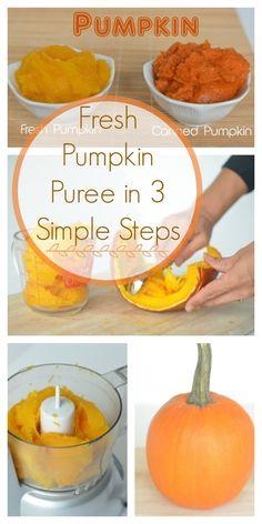 Fresh Pumpkin Puree in 3 Simple Steps - Super Healthy Kids Fresh Pumpkin Recipes, Homemade Pumpkin Puree, Pureed Food Recipes, Healthy Pumpkin, Baby Food Recipes, Fall Recipes, How To Puree Pumpkin, Pumpkin Guts Recipe, Sugar Pumpkin