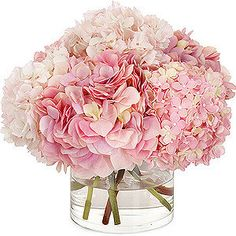 simple pink hydrangea centerpiece- can accent with a ribbon on vase Visit www.stemsatlanta.com for more great wedding inspiration!