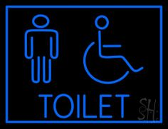 Toilet Neon Sign 24 Tall x 31 Wide x 3 Deep, is 100% Handcrafted with Real Glass Tube Neon Sign. !!! Made in USA !!!  Colors on the sign are Blue. Toilet Neon Sign is high impact, eye catching, real glass tube neon sign. This characteristic glow can attract customers like nothing else, virtually burning your identity into the minds of potential and future customers. Toilet Neon Sign can be left on 24 hours a day, seven days a week, 365 days a year...for decades.