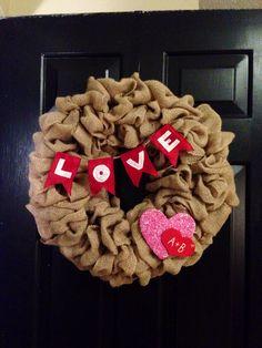 Valentines Burlap Wreath