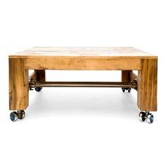 Mesa de centro en madera reciclada de teca. Decoración Low Cost Chicandclic.es