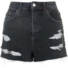 TOPSHOP MOTO Black Ecru Mom Shorts (230 GTQ) ❤ liked on Polyvore featuring shorts, pants, short, black, summer shorts, torn shorts, distressed shorts, destroyed shorts and ripped shorts