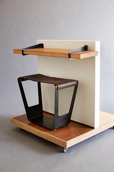 leather/steel stool