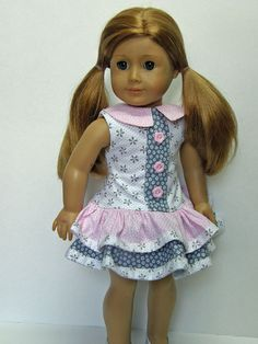 American Girl doll clothes - ruffle dress - 18 inch doll clothes