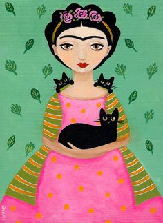 Fridas Black Cats Original Cat Folk Art Painting by KilkennycatArt