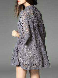 Gray Plain Pierced Half Sleeve Crew Neck Mini Dress