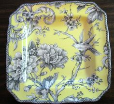 Set of 4 each 222 Fifth Adelaide Yellow Porcelain Salad Plate French Toile. Super cute plate with French Toile Birds. Background is trees, leaves, and flowers. Square Plate Set, Plate Sets, 222 Fifth Dinnerware, China Dinnerware, Plates For Sale, Bird On Branch, Acanthus, Yellow Roses, Plates On Wall