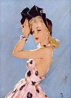 1940s Fashion Illustration ~ LÁMINAS ANTIGUAS 3-Ideas y Trabajos terminados (pág. 803) | Aprender manualidades es facilisimo.com