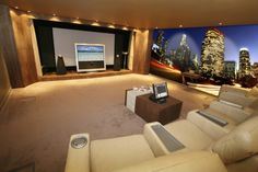 theater room with digital wallpaper