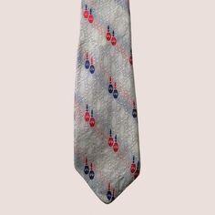 Vintage Grenadine Tie Narrow Light Grey Textured with Embroidery   AestheticsAndOldLace - Accessories on ArtFire