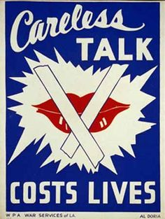 Careless Talk...  WPA  War Services of LA  Al Doria  1941-1943
